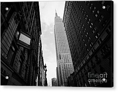 View Empire State Building From West 34th Street And Broadway Junction New York City Acrylic Print by Joe Fox