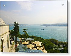 View From Konyali Restaurant To Bosphorus Bridge Connecting Europe And Asia Istanbul Turkey Acrylic Print by PIXELS  XPOSED Ralph A Ledergerber Photography