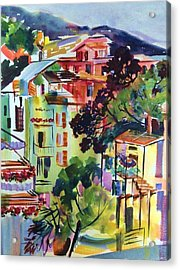 View From Our Hotel Window Cinque Terre Acrylic Print by Therese Fowler-Bailey