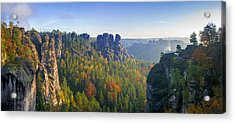 View From The Bastei Bridge In The Saxon Switzerland Acrylic Print