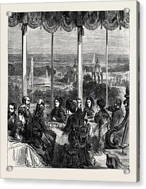 View From The Crystal Palace Grand Saloon Summer Dining Room Acrylic Print by English School