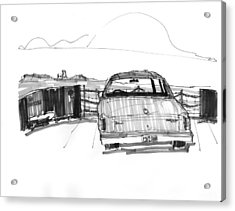 Acrylic Print featuring the drawing View From The Hatteras Ferry by Richard Wambach