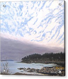 View From The Haven Beach Gabriola Acrylic Print by Beverly Theriault