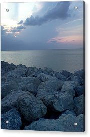 View From The Jetty Acrylic Print by K Simmons Luna