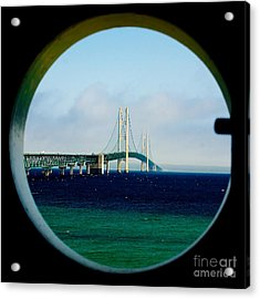 View From The Mackinac Light Acrylic Print by Nick Zelinsky