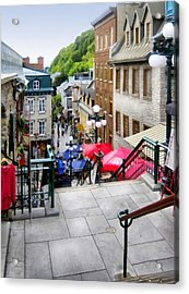 View From The Stairs Old Quebec City  Acrylic Print by Ann Powell