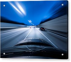 View From The Top Of A Car Driving Down Acrylic Print by Darekm101