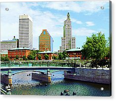 View From Waterplace Park Providence Ri Acrylic Print by Susan Savad