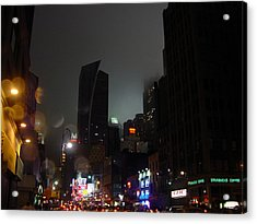 view of 8th Ave before New York Times building Acrylic Print