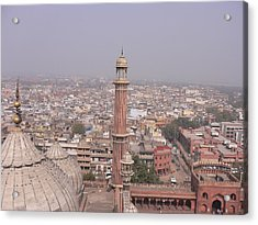 View Of A Mosque (jama Masjid) And Delhi Acrylic Print by Leontura