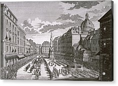 View Of A Procession In The Graben Engraved By Georg-daniel Heumann 1691-1759 Engraving Acrylic Print by Salomon Kleiner