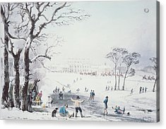 View Of Buckingham House And St James Park In The Winter Acrylic Print by John Burnet