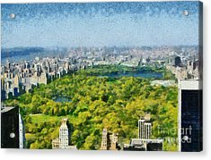 View Of Central Park And Manhattan From Observation Deck At Rockefeller Center Acrylic Print