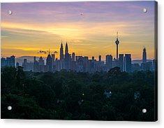 View Of Cityscape Against Sky During Sunset Acrylic Print by Shaifulzamri Masri / EyeEm