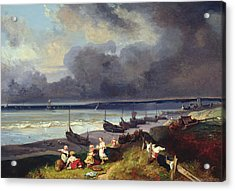View Of Dieppe Acrylic Print by Louis Eugene Gabriel Isabey