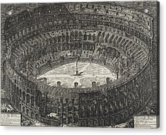 View Of Flavian Amphitheater Called The Colosseum Acrylic Print by Giovanni Battista Piranesi