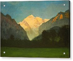 View Of Glacier Park Or Sunset On Peak Acrylic Print by Albert Bierstadt