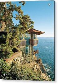 View Of Hotel Near Seaside Acrylic Print by Mary E Nichols