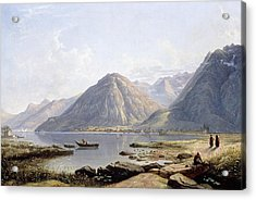 View Of Lake Geneva With The Town Of Villeneuve Acrylic Print by Francis Danby