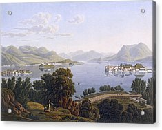 View Of Lake Maggiore And The Borromean Acrylic Print by Swiss School