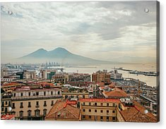 View Of Mount Vesuvius Over Naples Acrylic Print by Kevin C Moore