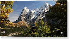 View Of Mt Eiger And Mt Monch, Murren Acrylic Print