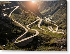 View Of Old Road To Gotthard Pass Acrylic Print by Walter Zerla