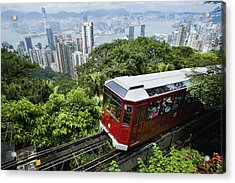 View Of Peak Tram Arriving At The Top Acrylic Print by Axiom Photographic