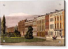 View Of Portman Square, North Side, 1816 Acrylic Print by Rudolph Ackerman