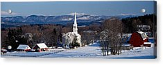 View Of Small Town In Winter, Peacham Acrylic Print