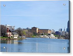 View Of The Art Museum And Waterworks In Philadelphia Acrylic Print by Bill Cannon