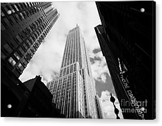 View Of The Empire State Building And Surrounding Buildings And Cloudy Sky West 33rd Street New York Acrylic Print by Joe Fox