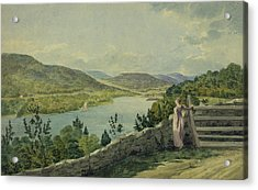 View Of The Hudson Circa 1817 Acrylic Print by Aged Pixel