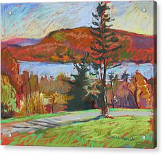 Acrylic Print featuring the painting View Of The Lake by Linda Novick
