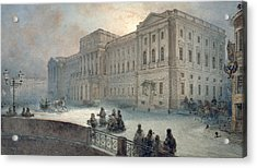 View Of The Mariinsky Palace In Winter Acrylic Print by Vasili Semenovich Sadovnikov