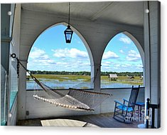 View Of The Marsh From The Pelican Inn Acrylic Print by Kathy Baccari