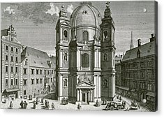 View Of The Peterskirche, Vienna Engraved By Johann Bernard Hattinger Acrylic Print by Salomon Kleiner