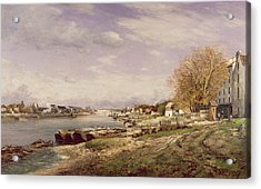 View Of The Port Of Bercy, Paris, 1880 Oil On Canvas Acrylic Print by Jean Baptiste-Antoine Guillemet