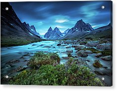 View Of The Skjoldungen Range Acrylic Print by Andy Mann