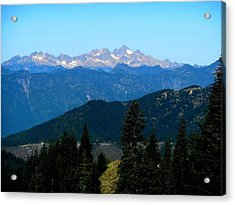View Of Twin Sisters From Sauk Mountain Acrylic Print by Karen Molenaar Terrell
