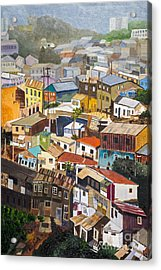 View Of Val Pariso Chile By Stan Bialick Acrylic Print by Sheldon Kralstein