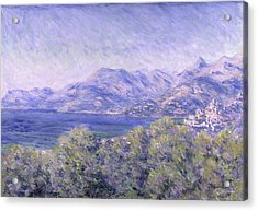 View Of Ventimiglia, 1884 Acrylic Print by Claude Monet