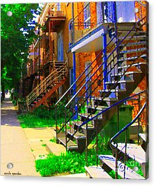 View Of Verdun Steps Stairs Staircases Winding Through Summer  Montrealstreet Scenes Carole Spandau Acrylic Print by Carole Spandau