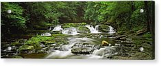 View Of Waterfalls In A River, Dingmans Acrylic Print by Panoramic Images