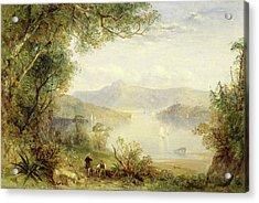 View On The Hudson River, Thomas Creswick Acrylic Print