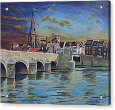 View On Wyck East Bank Maastricht Acrylic Print by Nop Briex