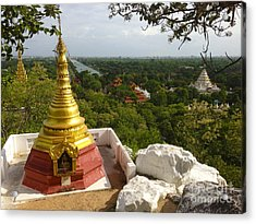 Acrylic Print featuring the photograph View Over Ancient City Of Mandalay Aungmyaythazan From Mandalay Hill Mandalay Burma by Ralph A  Ledergerber-Photography