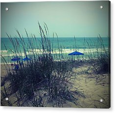 View Thru The Beach Grass Acrylic Print by Cathy Lindsey