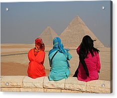 Acrylic Print featuring the photograph Viewing The Pyramids by Laurel Talabere