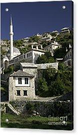views of pocitelj in Bosnia Hercegovina with minaret bridge and river Acrylic Print